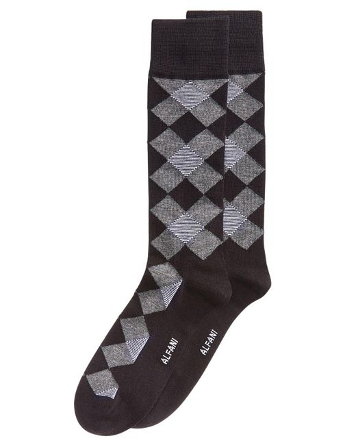 Alfani - Gray Diamond Dress Socks, Created For Macy's for Men - Lyst