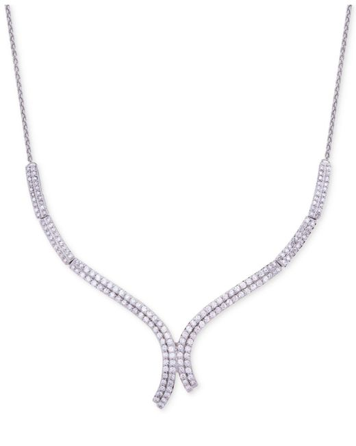 Wrapped in Love - Metallic Diamond Curve Statement Necklace (1-1/2 Ct. T.w.) In 14k White Gold - Lyst