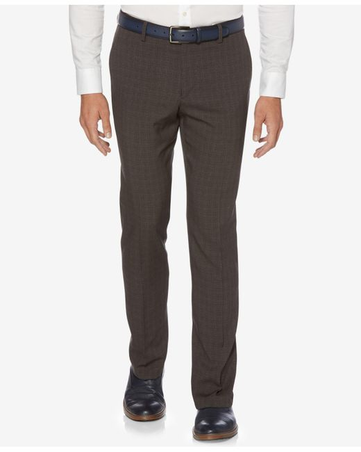 Perry Ellis | Gray Men's Slim-fit Mechanical Stretch Tonal Plaid Pants for Men | Lyst