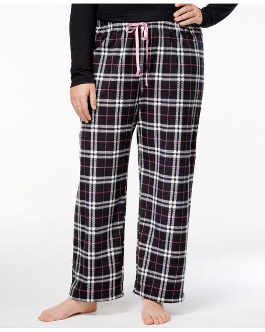 Hue | Black Plus Size Snuggly Fleece Plaid Pajama Pants | Lyst