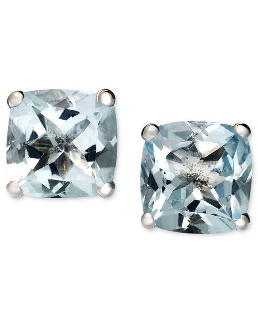 Macy's - Blue 14k White Gold Earrings, Aquamarine Cushion Studs (1-5/8 Ct. T.w.) - Lyst