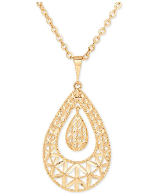 Macy's - Metallic Openwork Orbital Teardrop Pendant Necklace In 10k Gold - Lyst