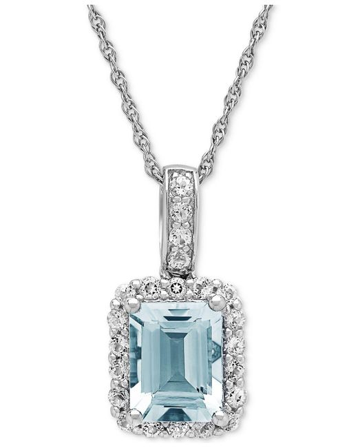 Macy's - Metallic Aquamarine (2-1/10 Ct. T.w.) & White Topaz (5/8 Ct. T.w.) Pendant Necklace In Sterling Silver - Lyst