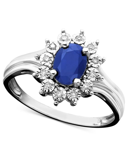 Macy's | Blue Sapphire (9/10 Ct. T.w.) And Diamond Accent Ring In 10k White Gold | Lyst
