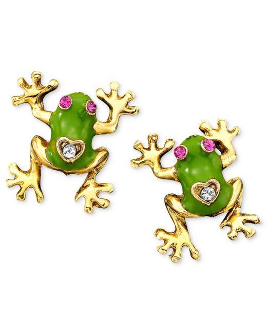 Betsey Johnson - Green Frog Stud Earrings - Lyst