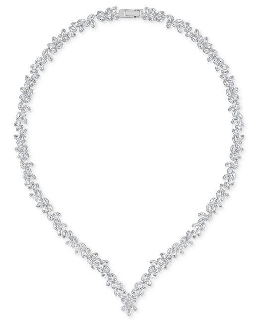 Swarovski   Metallic Silver-tone Marquise Crystal V-necklace   Lyst
