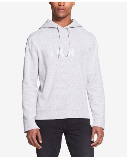 DKNY - Gray Stripe Logo-print Hoodie for Men - Lyst