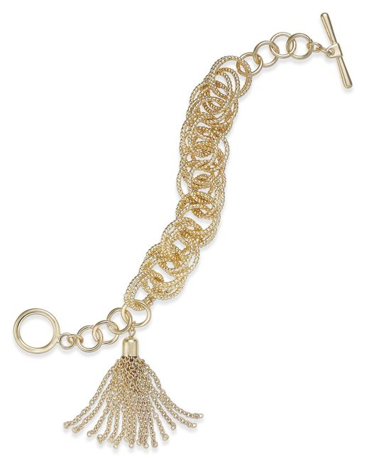 INC International Concepts - Metallic Gold-tone Multi-ring & Chain Tassel Toggle Bracelet - Lyst