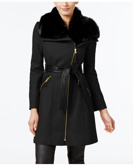 Via Spiga - Black Kate Faux-fur-collar Mixed-media Coat - Lyst