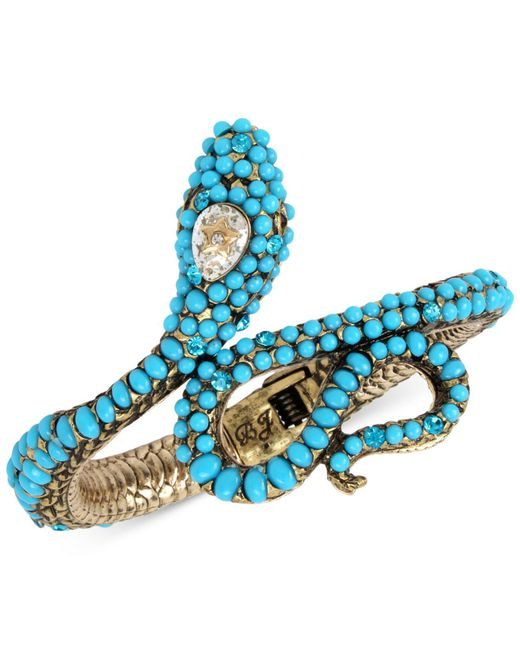 Betsey Johnson | Blue Gold-tone Stone & Crystal Snake Hinged Cuff Bracelet | Lyst