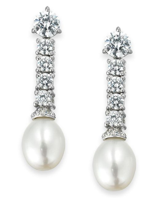 Arabella - Metallic Cultured Freshwater Pearl (8mm) And Swarovski Zirconia (3-5/8 Ct. T.w.) Drop Earrings In Sterling Silver - Lyst