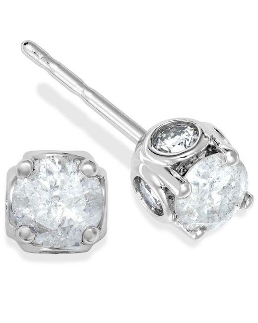 Macy's | Diamond Spiral Bezel Earrings In 14k White Gold (3/8 Ct. T.w.) | Lyst