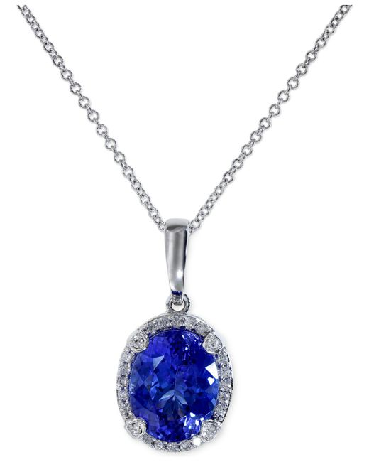 Effy Collection | Blue Tanzanite (2-5/8 Ct. T.w.) And Diamond (1/8 Ct. T.w.) Pendant Necklace In 14k White Gold | Lyst