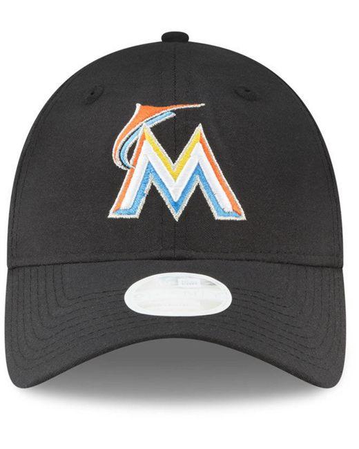 timeless design 1ef90 48df0 ... france ktz black miami marlins team linen 9twenty strapback cap for men  lyst 372fc 77927