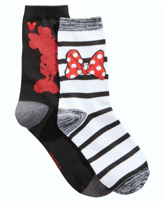 Disney | Black Women's 2-pk. Boxed Minnie Mouse Crew Socks | Lyst