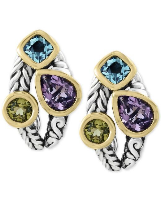 Effy Collection - Metallic Multi-gemstone Deco-style Stud Earrings (5-1/10 Ct. T.w.) In Sterling Silver And 18k Gold - Lyst