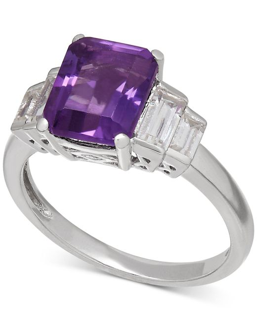 Macy's | Purple Amethyst (2-1/6 Ct. T.w.) And White Topaz (1-1/2 Ct. T.w.) Ring In Sterling Silver | Lyst