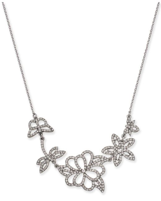 """INC International Concepts - Metallic I.n.c. Woman Silver-tone Pavé Flower Pendant Necklace, 16"""" + 3"""" Extender, Created For Macy's - Lyst"""