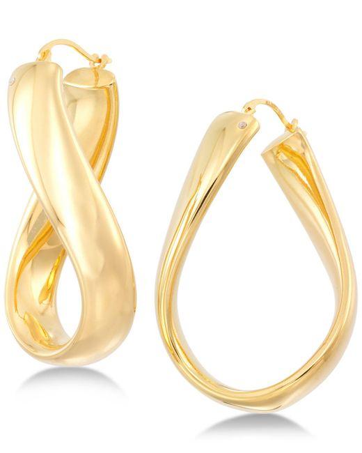 Signature Gold - Metallic Wavy Hoop Earrings In 14k Gold Over Resin - Lyst