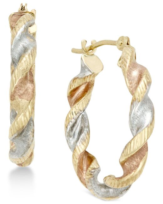 Macy's - Metallic Satin Twist Hoop Earrings In 10k Tri-tone Gold - Lyst