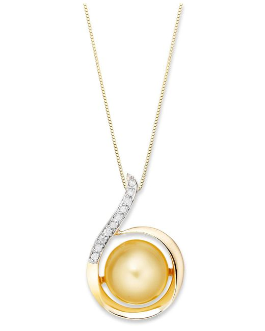 Macy's | Metallic 14k Gold Necklace, Golden South Sea Pearl (11mm) And Diamond (1/10 Ct. T.w.) Swirl Pendant | Lyst
