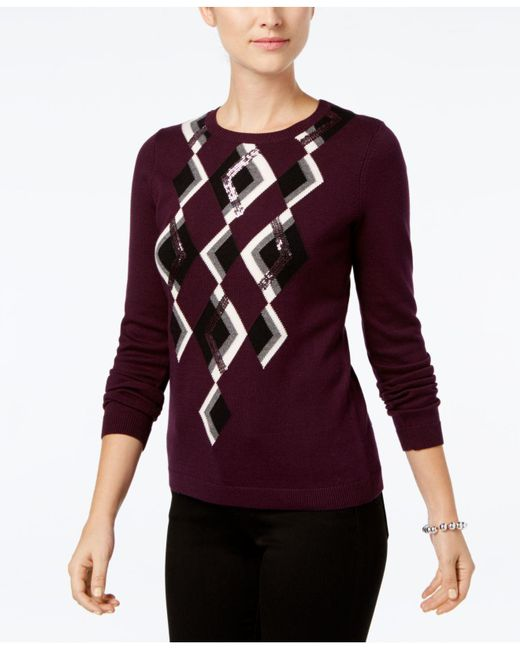 Charter Club | Red Argyle Sweater, Created For Macy's | Lyst