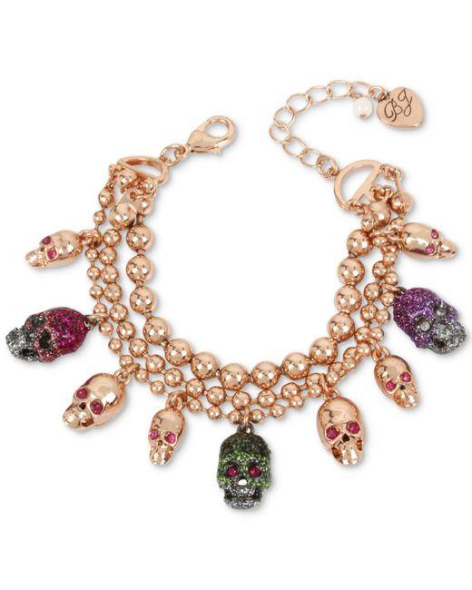 Betsey Johnson | Metallic Two-tone Multi-stone & Glitter Skull Charm Bracelet | Lyst