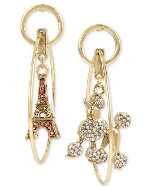 Betsey Johnson - Pink Gold-tone Pavé Poodle & Eiffel Tower Mismatch Orbital Drop Earrings - Lyst
