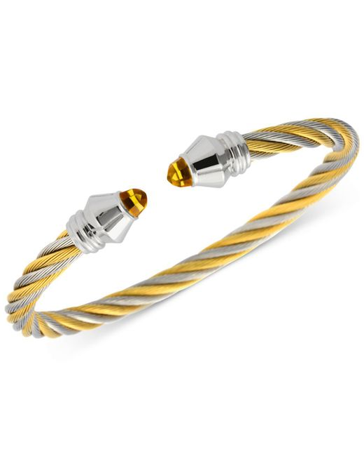 Charriol   Metallic Women's Fabulous Citrine Stone Two-tone Pvd Stainless Steel Cable Bangle Bracelet 04-821-1219-1m   Lyst