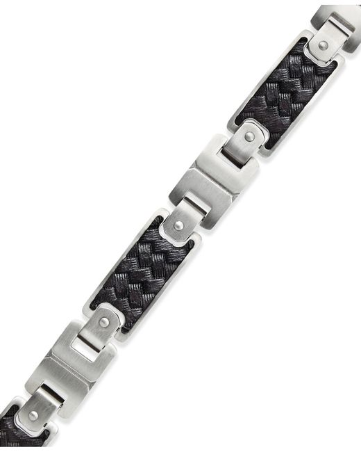Macy's | Men's Black Leather And Stainless Steel Link Bracelet for Men | Lyst