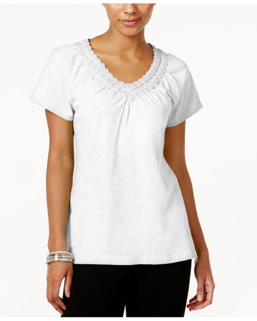 Karen Scott - White Petite Crochet-neck Cotton Top, Created For Macy's - Lyst
