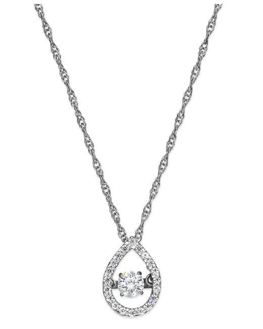 Twinkling Diamond Star - Metallic Tm Diamond Open Teardrop Pendant Necklace In 10k White Gold (1/4 Ct. T.w.) - Lyst
