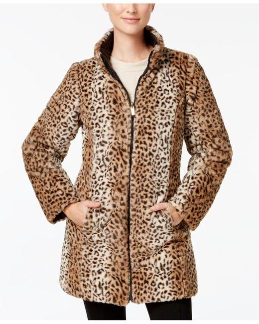 Jones New York - Black Reversible Faux-fur Coat - Lyst