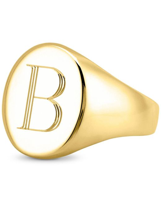 Sarah Chloe - Metallic Initial Signet Ring In 14k Gold-plated Sterling Silver - Lyst