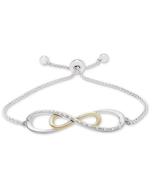 Macy's - Metallic Diamond Accent Two-tone Slider Bracelet In Sterling Silver And 10k Gold - Lyst