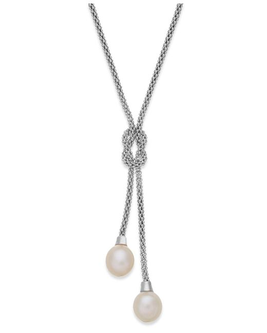 Macy's - Metallic Cultured Freshwater Pearl Lariat Knot Necklace In Sterling Silver (7-1/2mm) - Lyst