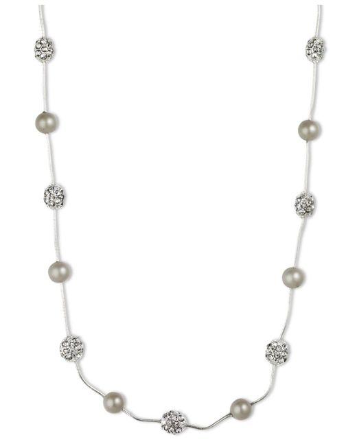 Anne Klein - Metallic Silver-tone Crystal Imitation Pearl Strand Necklace - Lyst