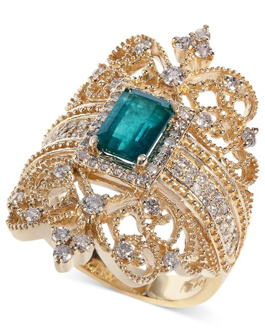 Effy Collection | Blue Emerald (9/10 Ct. T.w.) And Diamond (3/4 Ct. T.w.) Ring In 14k Gold | Lyst