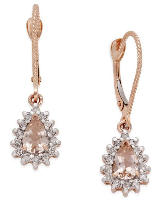 Macy's   Metallic Morganite (3/4 Ct. T.w.) And Diamond (1/4 Ct. T.w.) Drop Earrings In 14k Rose Gold   Lyst