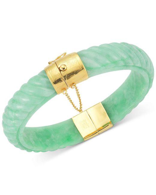 Macy's - Green Dyed Jadeite Bangle Bracelet In 14k Gold Over Sterling Silver - Lyst