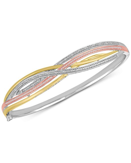 Macy's - Metallic Diamond Weave Tri-color Bangle Bracelet (1/4 Ct. T.w.) In Sterling Silver And 14k Gold-plate - Lyst