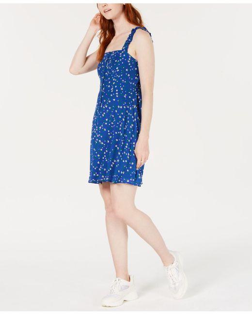 19 Cooper - Blue Smocked Floral-print A-line Dress - Lyst