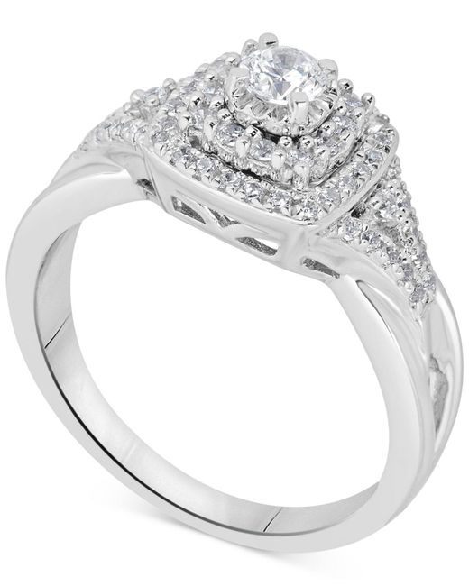 Macy's - Metallic Diamond Tiered Halo Engagement Ring (5/8 Ct. T.w.) In 14k White Gold - Lyst