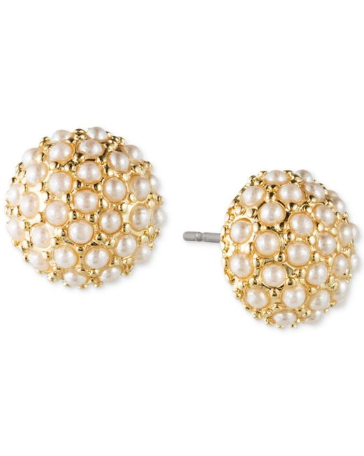 Lonna & Lilly - Metallic Gold-tone Faux Pearl Cluster Stud Earrings - Lyst