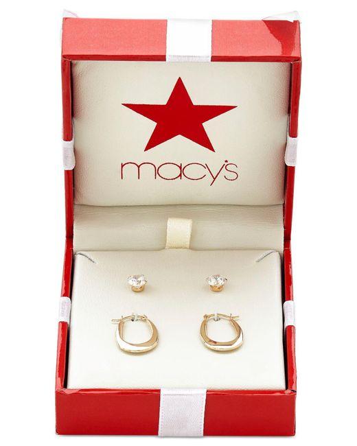 Macy's - Metallic Duo Set Cubic Zirconia Stud Earrings And Oval Hoop Earrings In 10k Gold - Lyst