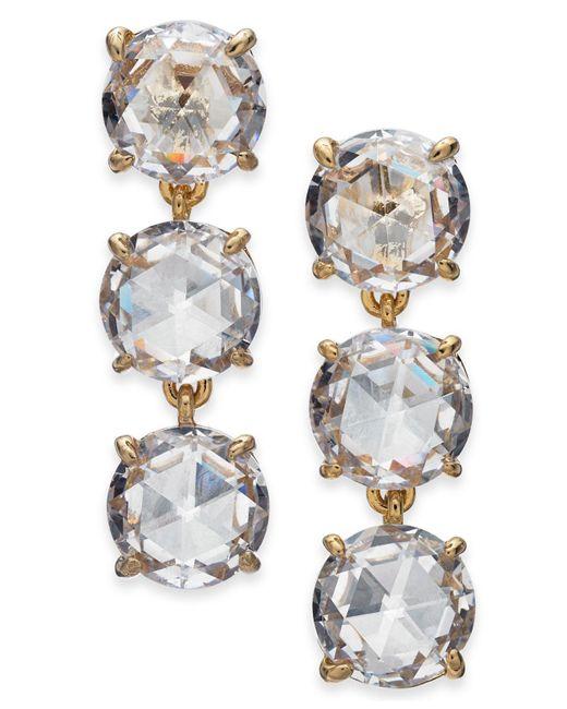 Kate Spade - Metallic Gold-tone Stone Triple Drop Earrings - Lyst