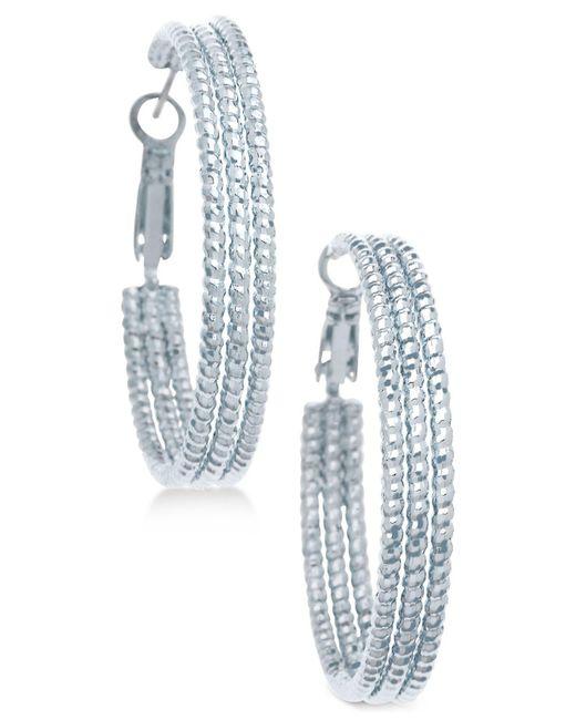 """Guess - Metallic 1 1/2"""" Textured Hoop Earrings - Lyst"""
