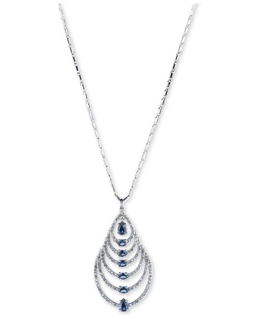 Carolee | Blue Silver-tone Graduated Teardrop Stone Pendant Necklace | Lyst