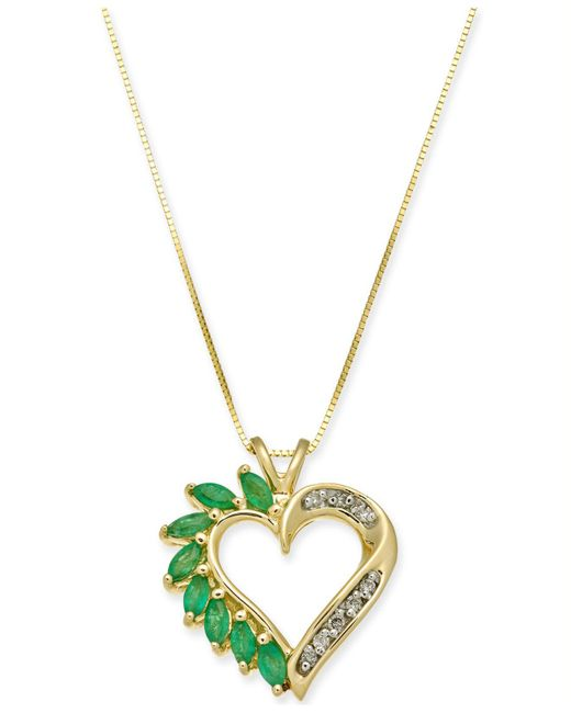 Lyst macys emerald 34 ct tw diamond accent heart pendant macys green emerald 34 ct tw diamond accent heart aloadofball Image collections