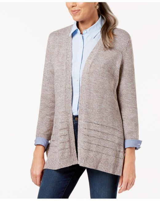 Karen Scott - Gray Open-front Pointelle Cardigan, Created For Macy's - Lyst